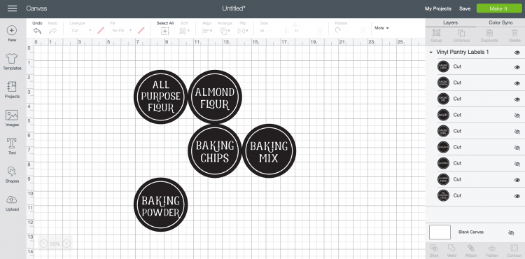 Upload the pantry labels to Cricut Design Space