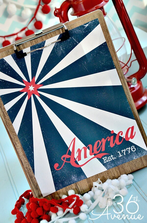 36th Ave America Print Celebrate the 4th of July with these free patriotic printables! Get more than 20 red, white, and blue printables from your favorite bloggers!
