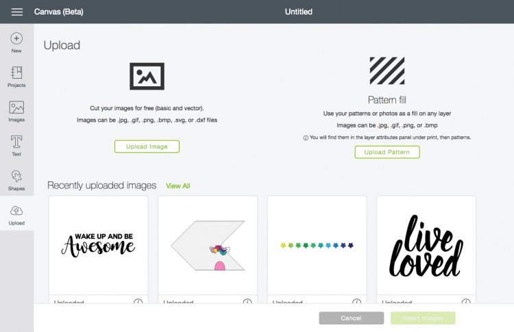 Upload the file to the Cricut Design Space
