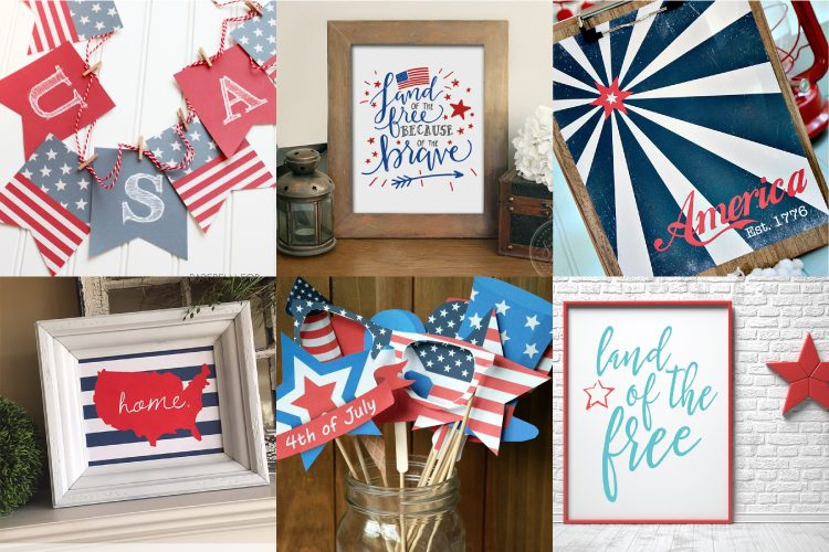 Celebrate the 4th of July with these free patriotic printables! Get more than 20 red, white, and blue printables from your favorite bloggers!