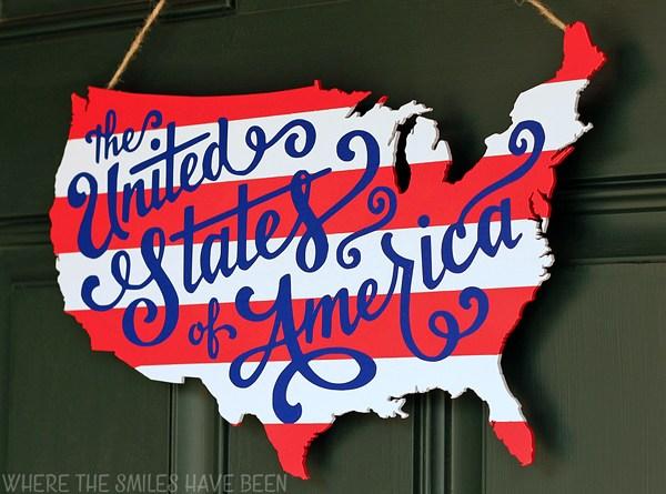 USA wood map door hanger