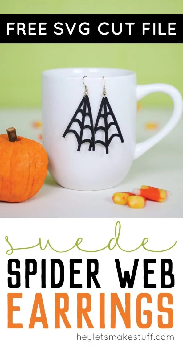 These DIY spider web earrings are designed to be cut on your Cricut or other cutting machine using faux suede or leather. This Halloween accessory project comes together in less than 10 minutes!