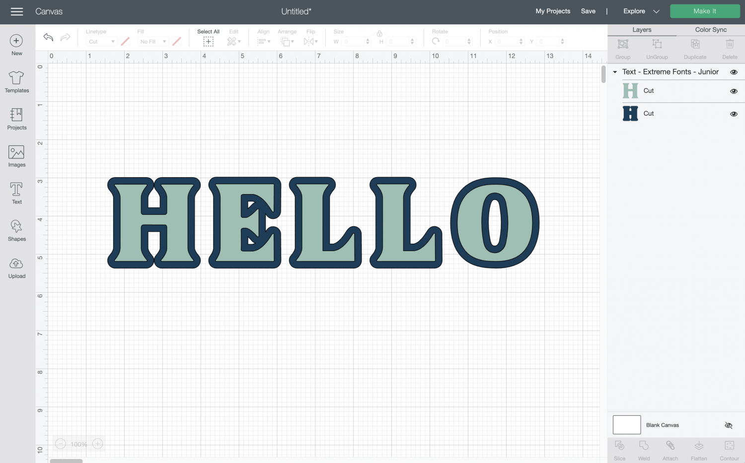 Cricut Design Space: the word HELLO in layered font
