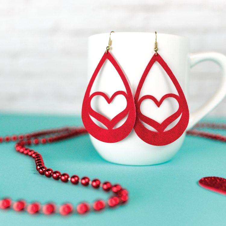 heart shaped suede earrings