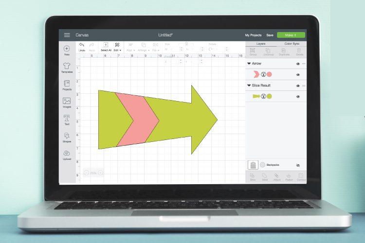 screenshot of slice in Cricut Design Space