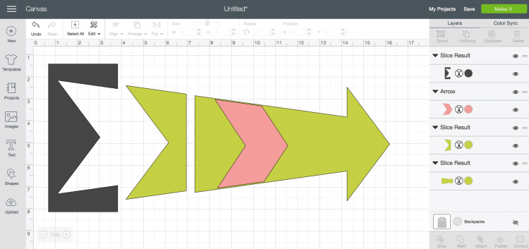 screenshot of trimming shapes using Slice Design Space