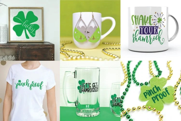 Collage of free SVGs St. Patrick's Day projects including mugs, tees, signs, and earrings.