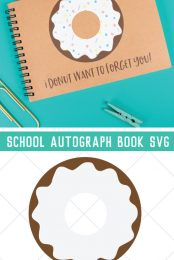 """Your kiddos can collect all their friends', teachers' and classmates' autographs—as well as make them laugh!—in this personalized school autograph book that reads """"I donut want to forget you"""" on the cover!"""