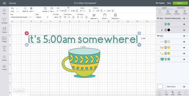 curve text in cricut design space - step 5