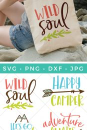 It's camping season! Enjoy the great outdoors with these outdoorsy camping SVG files! Four cut and clip art files so you can make all sorts of fun camping and outdoor projects.