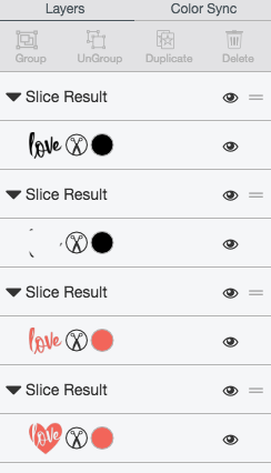 Slice result in Cricut Design Space