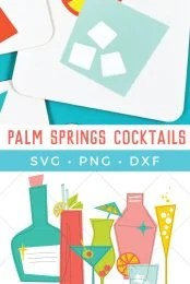 Nothing says retro cool like Palm Springs style! This set of cocktail cut files and clip art files are perfect for all of your summer swag—tote bags, coozies, and tank tops. Plus see how I put these swanky files on coasters!