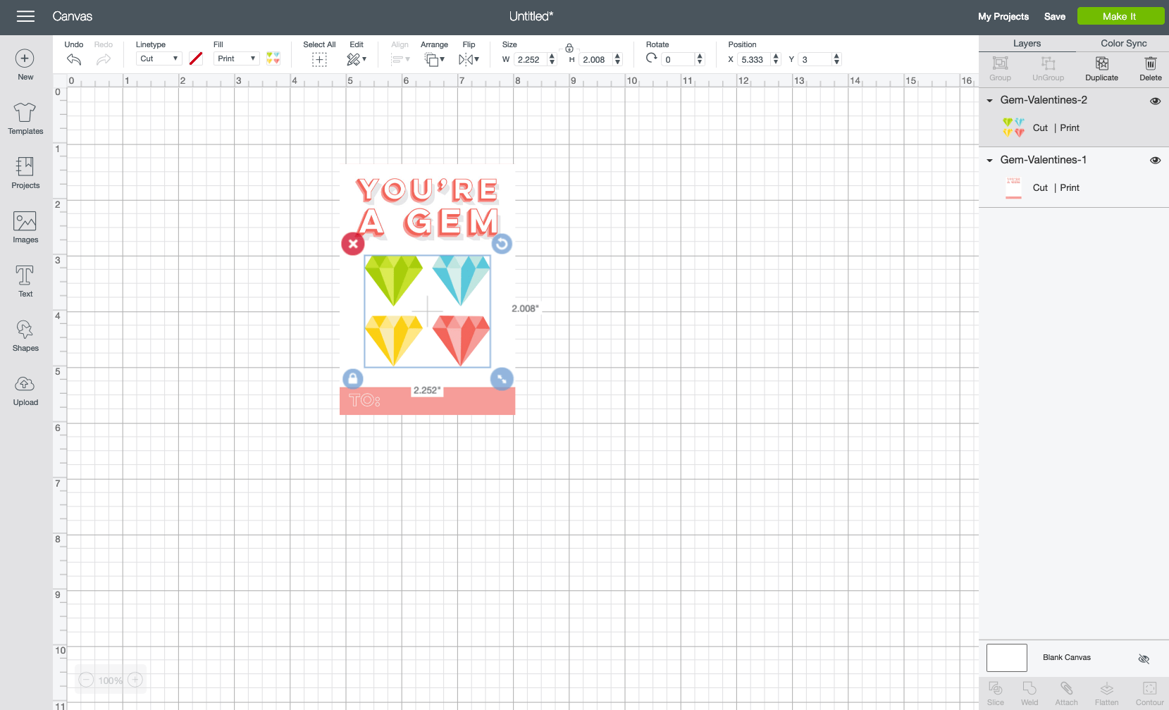 Then layer the gems on top of the card. You can use the Align tools in the Edit Toolbar at the top to center them.