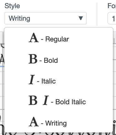 """Use the dropdown to select """"Writing"""" style fonts."""