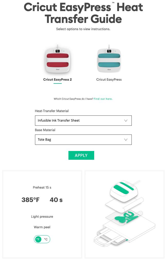 Cricut EasyPress Heat Transfer Guide screenshot