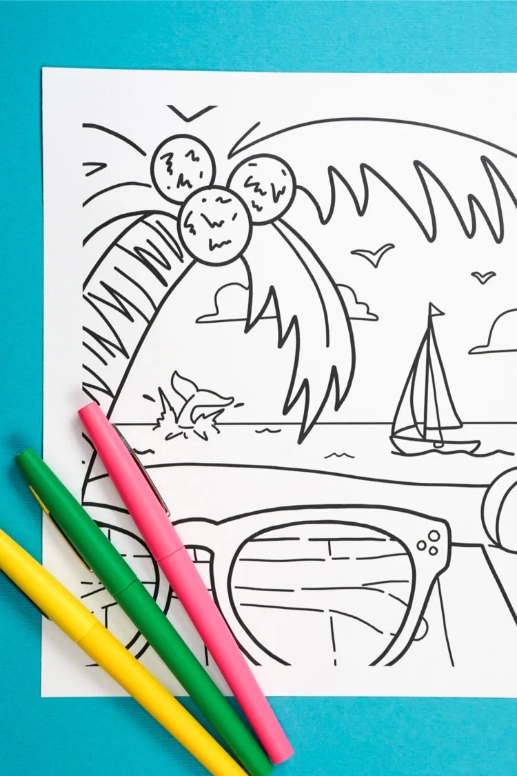 This free printable summer coloring page will instantly put you in beach mode! Grab some pens, sit back, relax, and add your favorite colors to palm trees, waves, shades, and more!