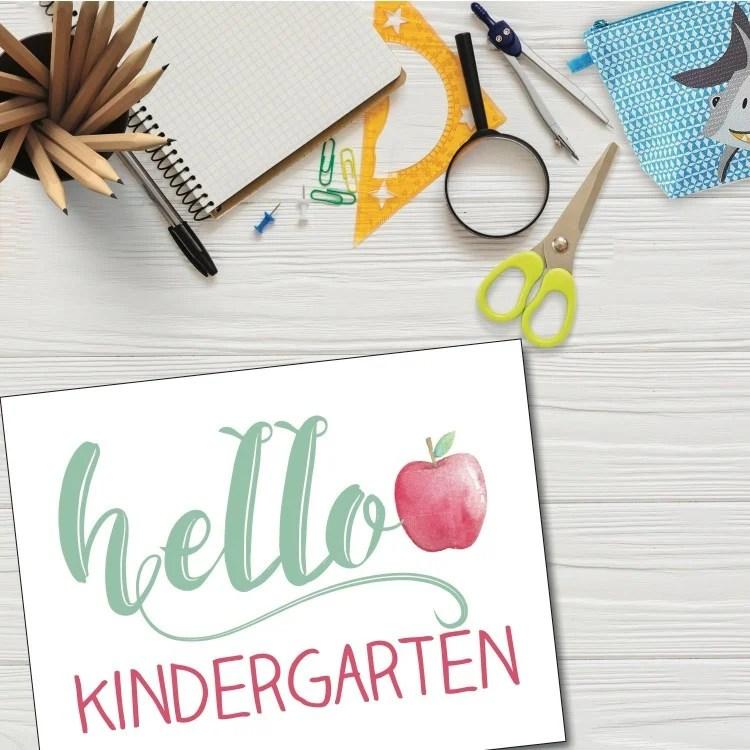 Hello Kindergarten sign with watercolor apple