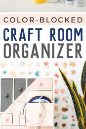 Tame your craft chaos with this fun color-blocked craft room organizer! All it takes is a little Rust-Oleum spray paint and some painter's tape to create a bold (and functional!) statement in your craft room.