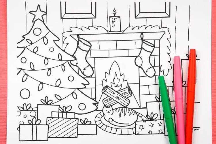 Free Printable Christmas Coloring Page - Hey, Let's Make Stuff