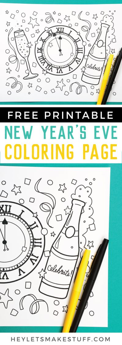 free printable New Year's Eve coloring page pin image