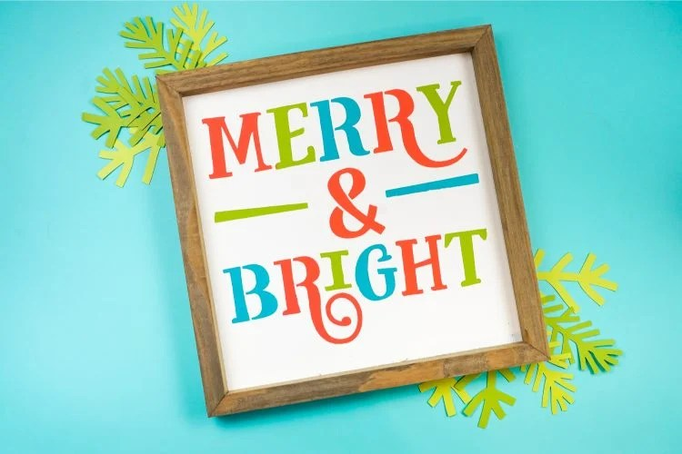 Merry and Bright stenciled sign