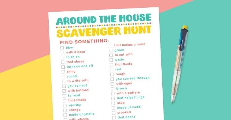Around the House scavenger hunt printable