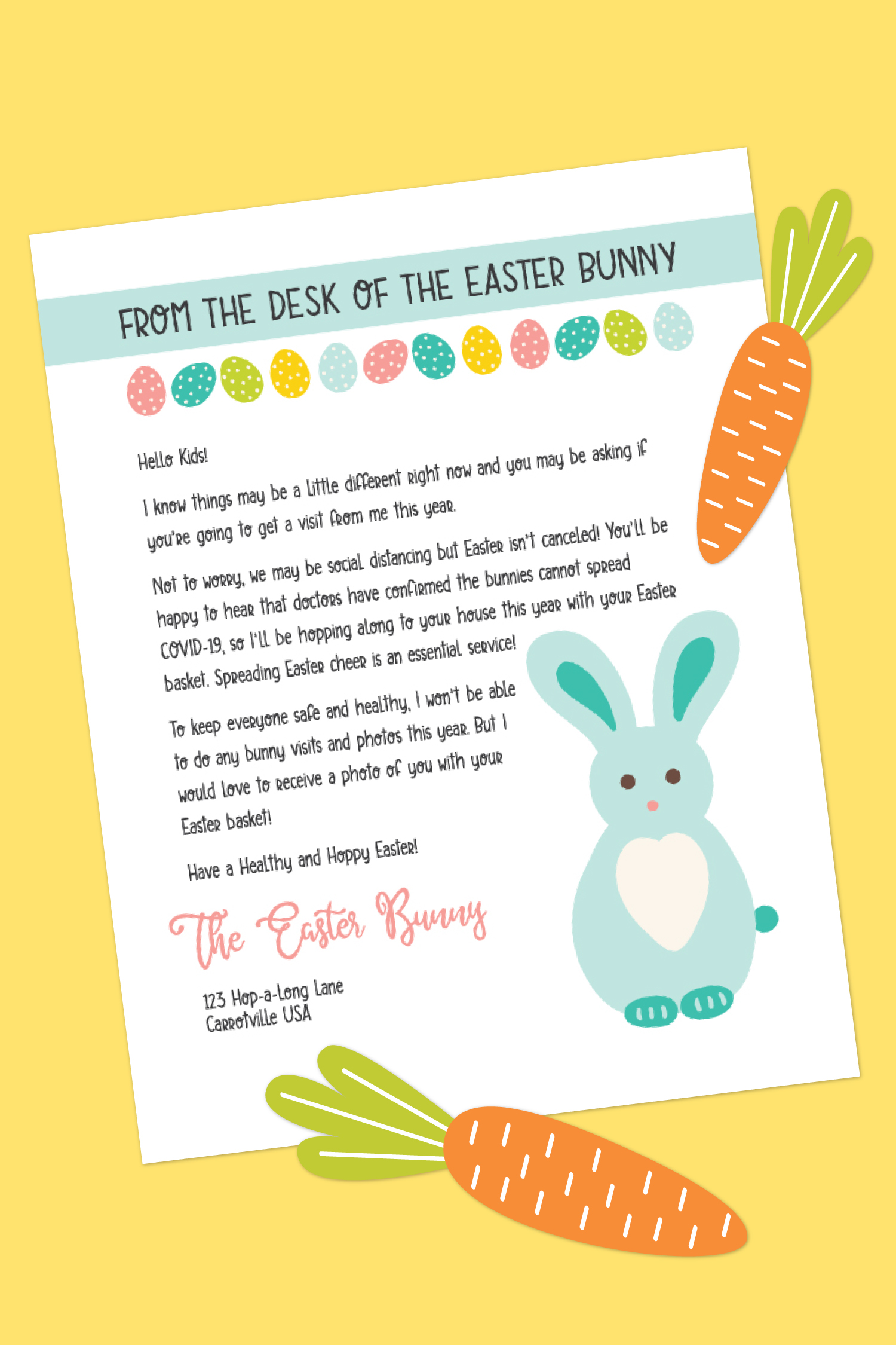Are your kids are worried whether or not they'll get a visit from the Easter Bunny in the middle of the COVID-19 pandemic? This Easter Bunny letter will help ease their worries!
