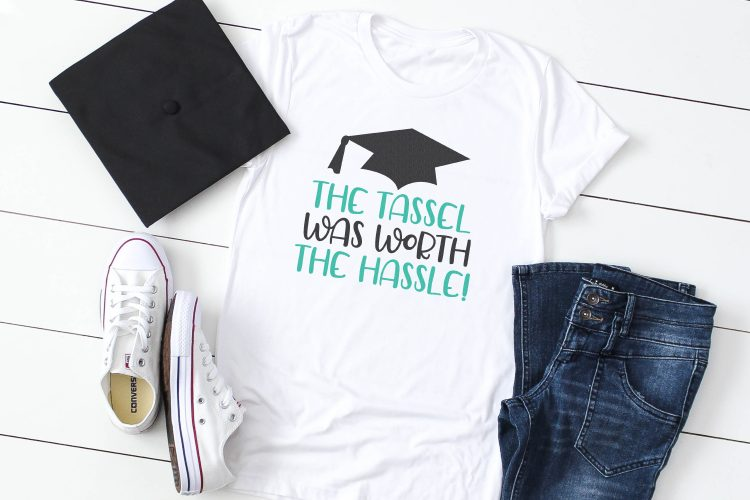 """""""The tassels was worth the hassle"""" file on t-shirt with mortarboard."""