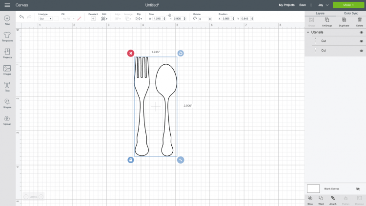Spoon and fork image open in Cricut Design Space