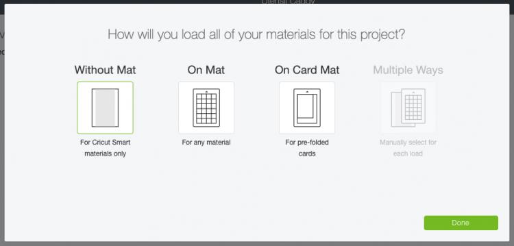 Mat materials selection screen