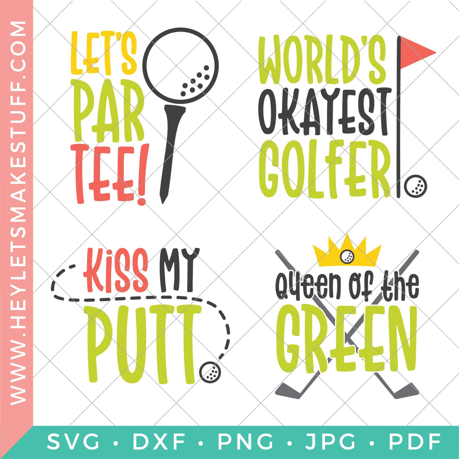 Four files in the funny golf SVG bundle