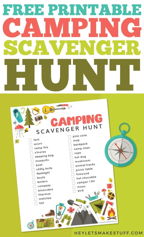 camping scavenger hunt pin image
