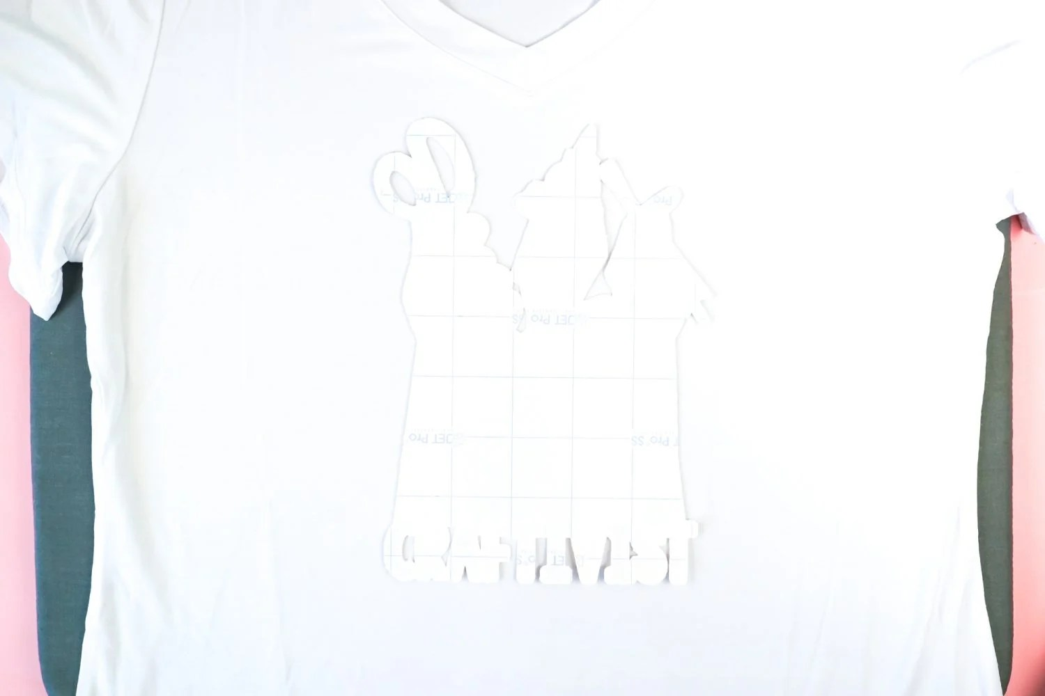 Image placed face down on a t-shirt.