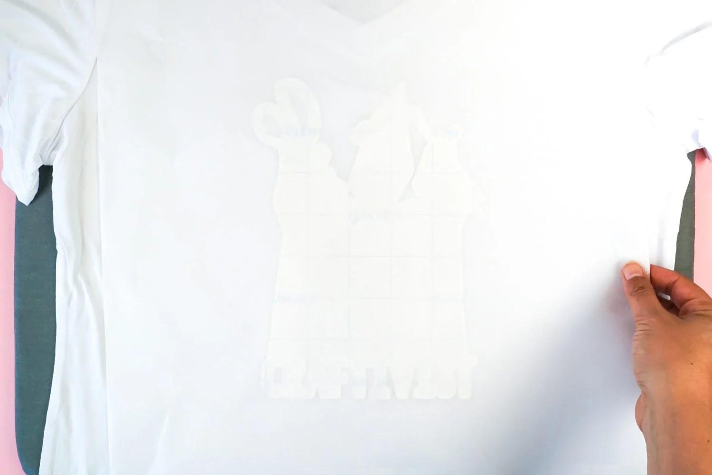 Teflon sheet over the top of the tshirt.