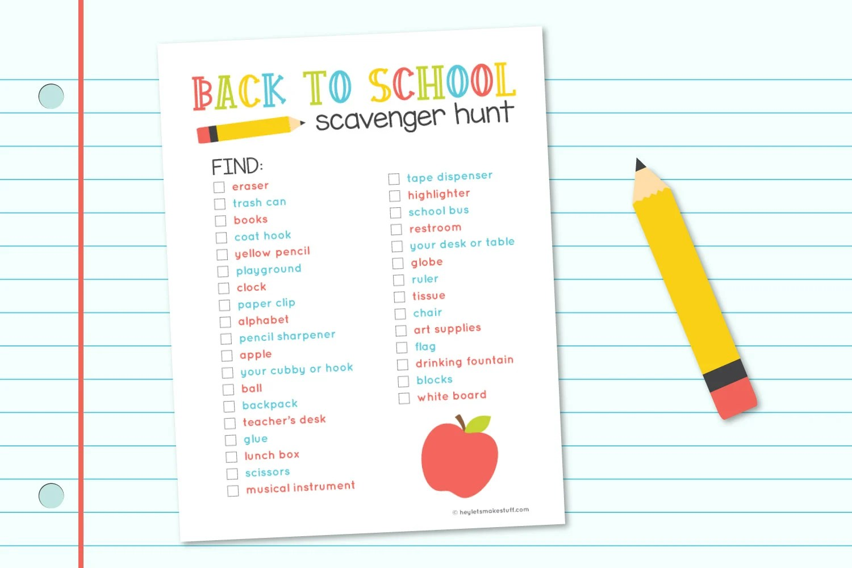 Back to school scavenger hunt on a fake paper background.