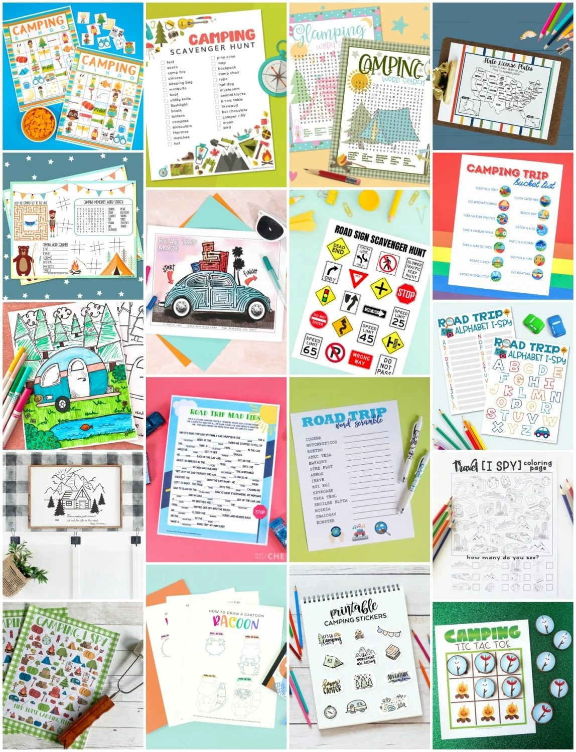Collage of more than 15 free camping printables!