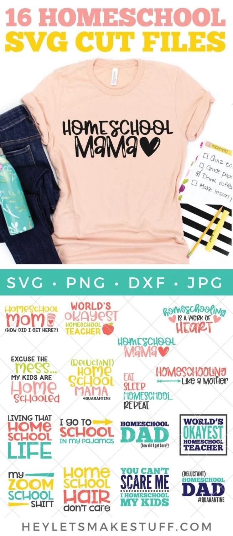homeschool SVG files with mockup on shirt