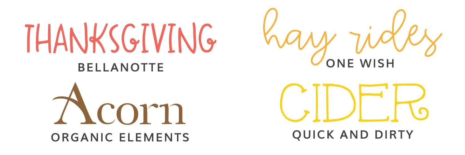 Image of third four fall fonts: BellaNotte, One Wish, Organic Elements, Quick & Dirty