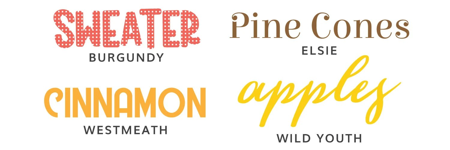 Image of fourth four fall fonts: Burgundy, Elsie, Westmeath, Wild Youth
