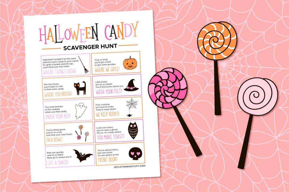 Halloween Candy Scavenger Hunt on Pink Background