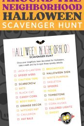 If you're looking for fun Halloween activities that you can do while still social distancing, check out this free printable halloween scavenger hunt! Once your neighbors have decorated for Halloween, take a walk and try to spot these spooky details!