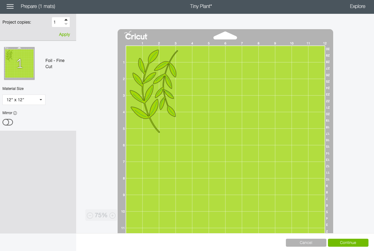 Prepared screen with plant images on green mat.