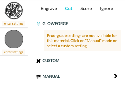 """Screenshot of changing images to """"cut"""""""