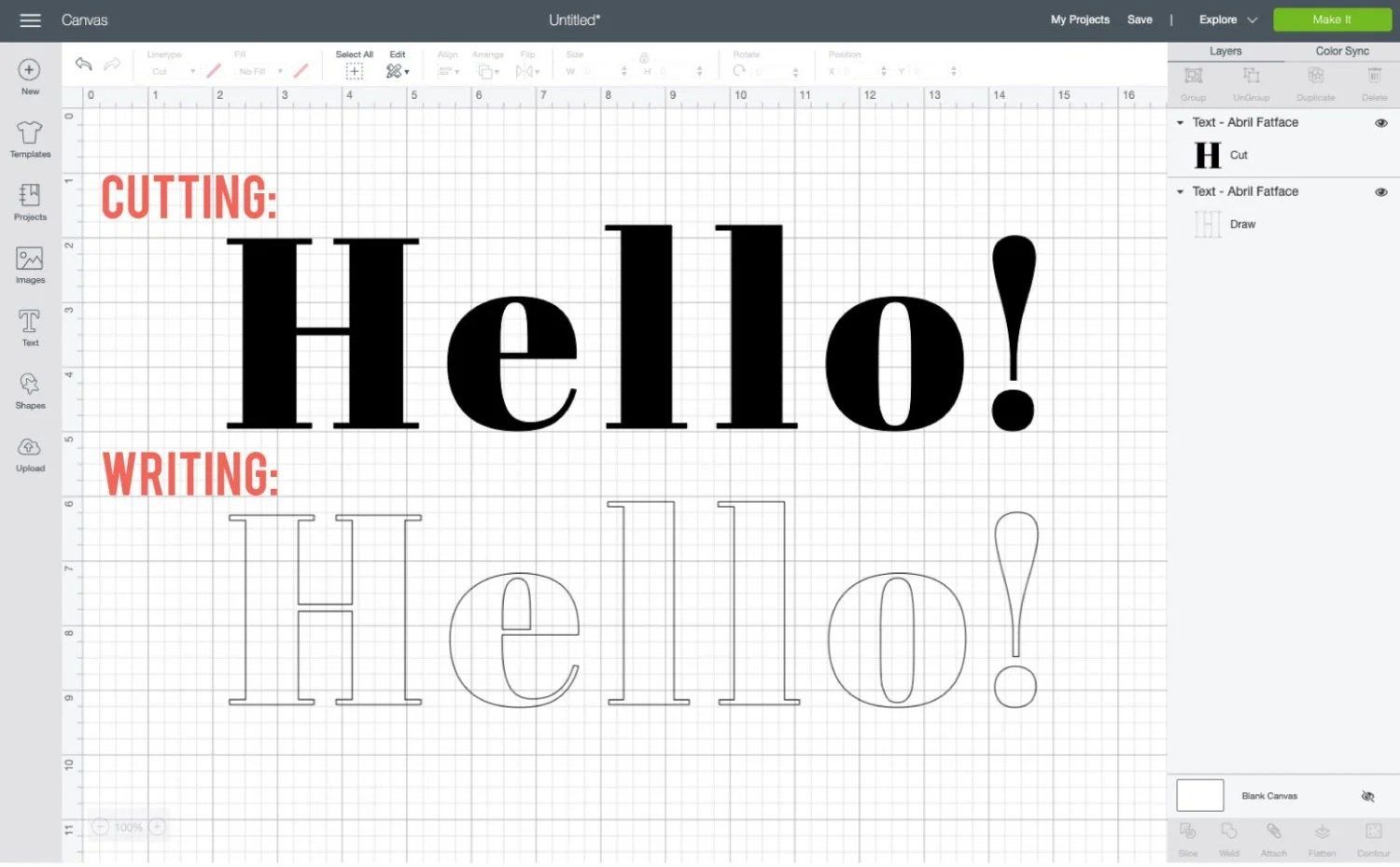 Comparison of Abril Fatface font cutting and writing in Design Space