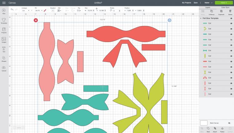 Cricut Design Space: Uploaded bow file