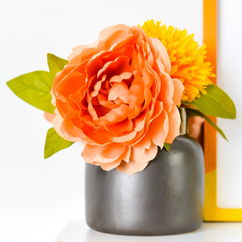 Closeup of faux flowers