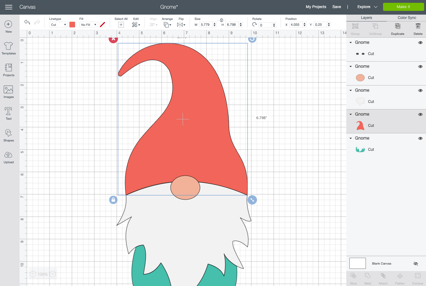 Cricut Design Space: just the gnome hat selected