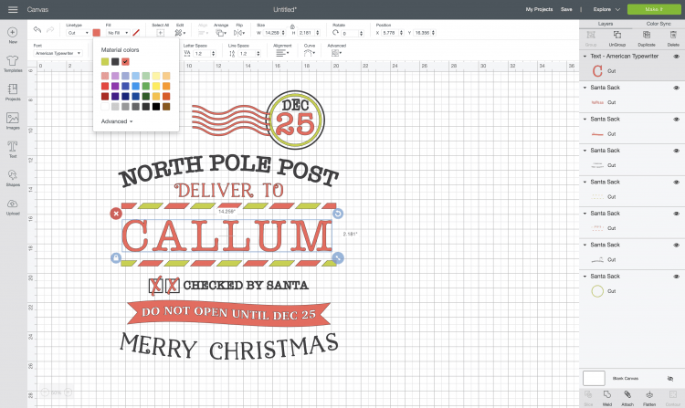 Cricut Design Space: Add name, resize and recolored