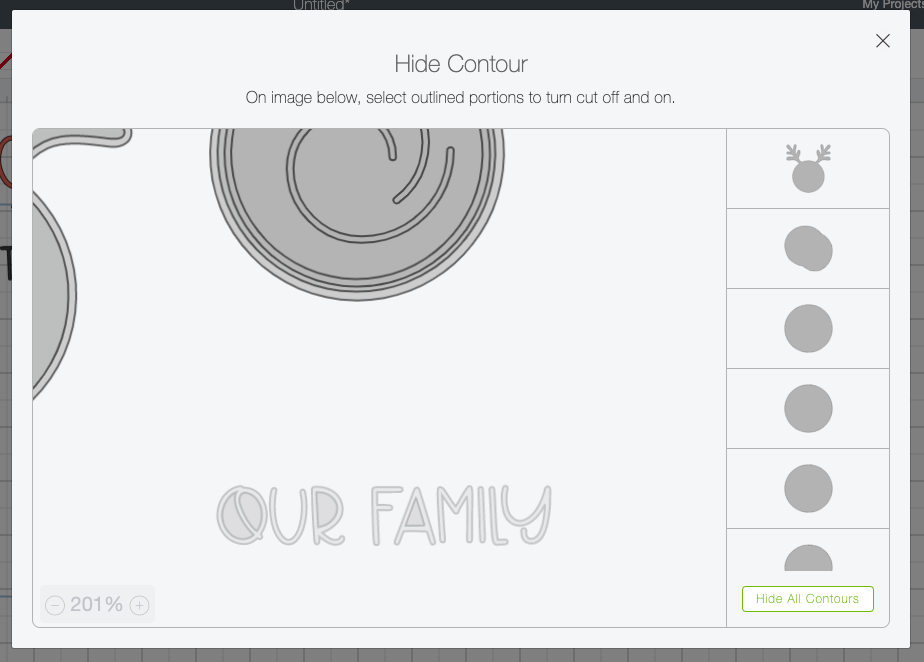 """Cricut Design Space: Contour tool being used to delete """"our family."""""""