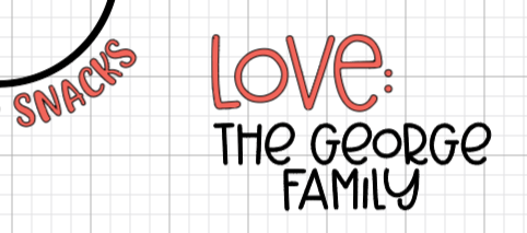 """Cricut Design Space: """"the George Family"""" name added to the tray."""